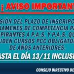 EXTENSIÓN DEL PLAZO DE INSCRIPCIONES A EXÁMENES 2020